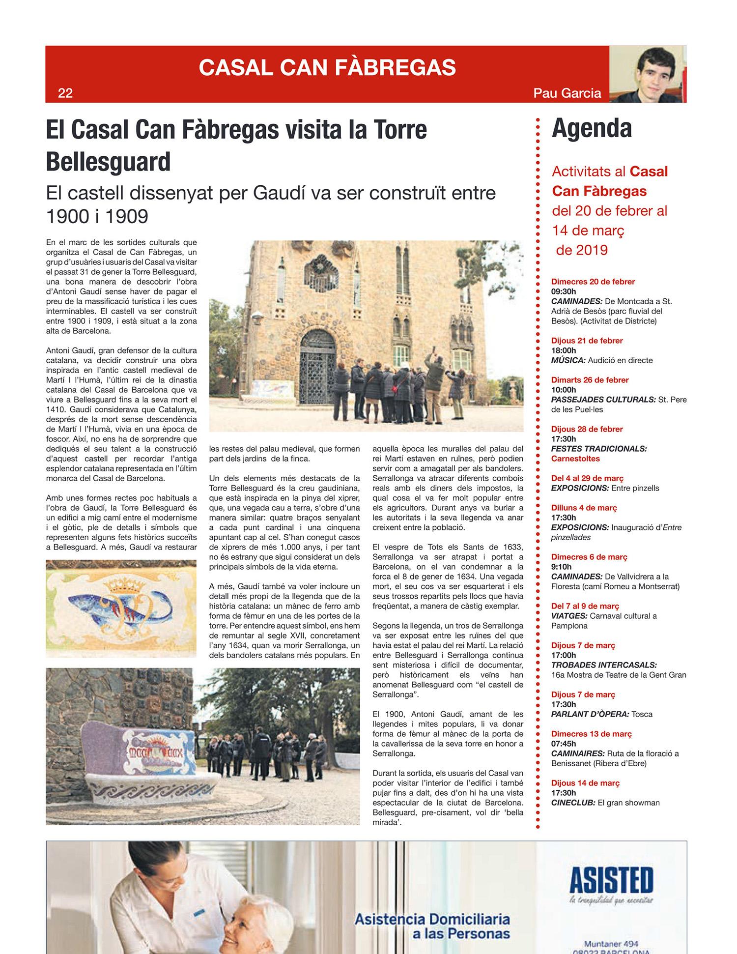 Casal Can Fàbregas viene a visitar la Torre Bellesguard de Antoni Gaudí.